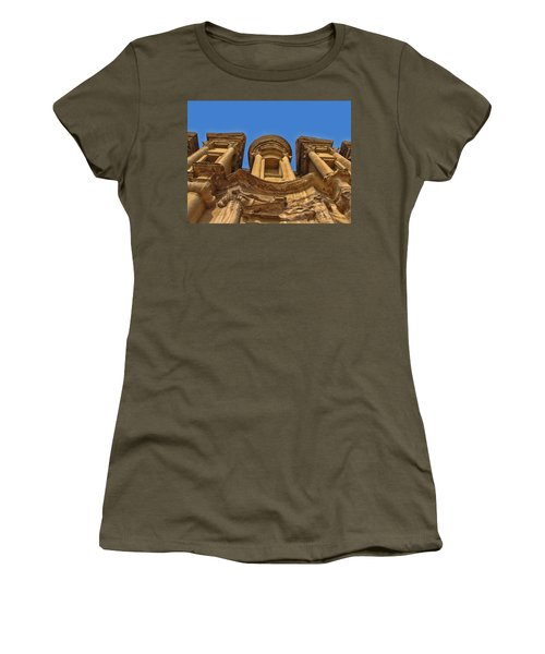 Women's T-Shirt (Junior Cut) featuring the photograph The Monastery In Petra by David Gleeson