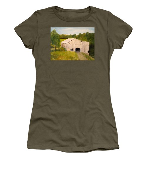 Women's T-Shirt (Junior Cut) featuring the painting The Old Barn by Alan Lakin