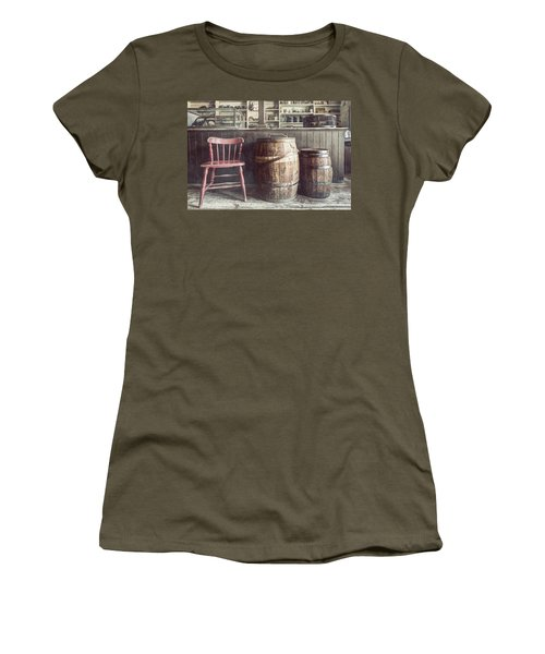 The Old General Store - Red Chair And Barrels In This 19th Century Store Women's T-Shirt