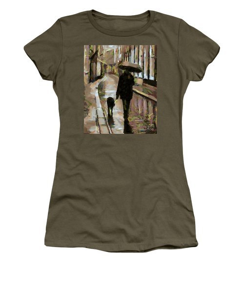 The Rainy Walk Women's T-Shirt (Athletic Fit)