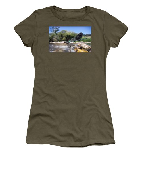 Women's T-Shirt featuring the photograph The River Dragonfly by Stwayne Keubrick