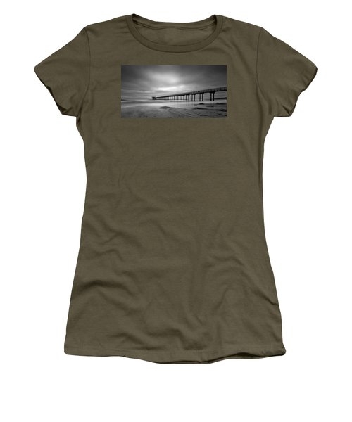 The Scripps Pier - Black And White Women's T-Shirt