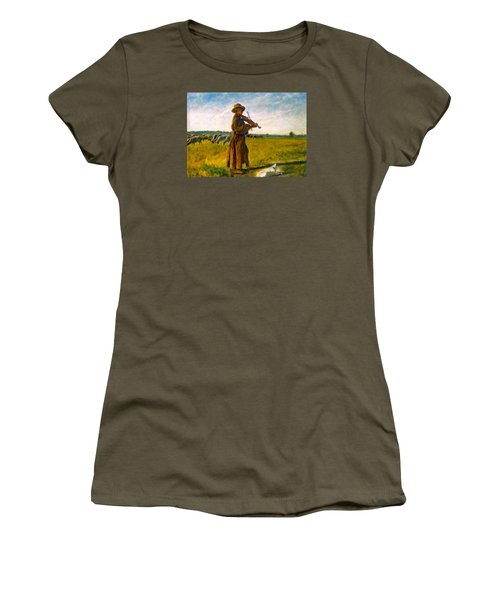 Women's T-Shirt (Junior Cut) featuring the painting The Shepherd by Henryk Gorecki