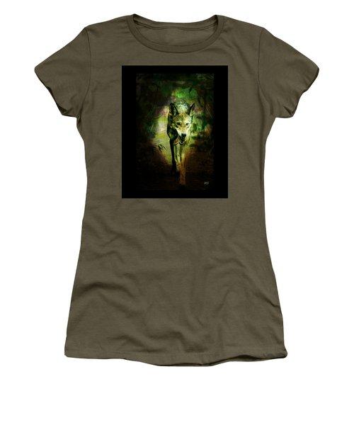 Women's T-Shirt (Junior Cut) featuring the digital art The Spirit Of The Wolf by Absinthe Art By Michelle LeAnn Scott
