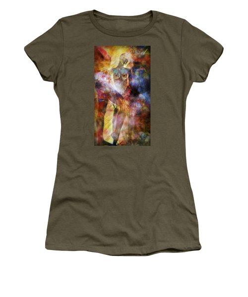 Women's T-Shirt (Junior Cut) featuring the mixed media The Touch by Ally  White