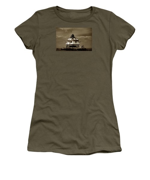 Thomas Point Shoal Lighthouse Sepia Women's T-Shirt (Junior Cut) by Skip Willits