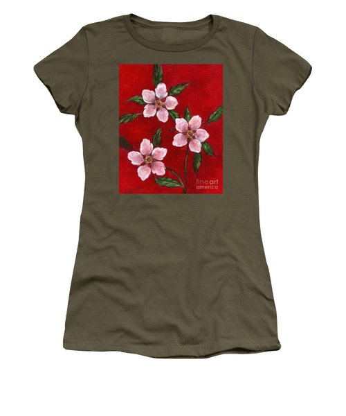 Three Blossoms On Red Women's T-Shirt