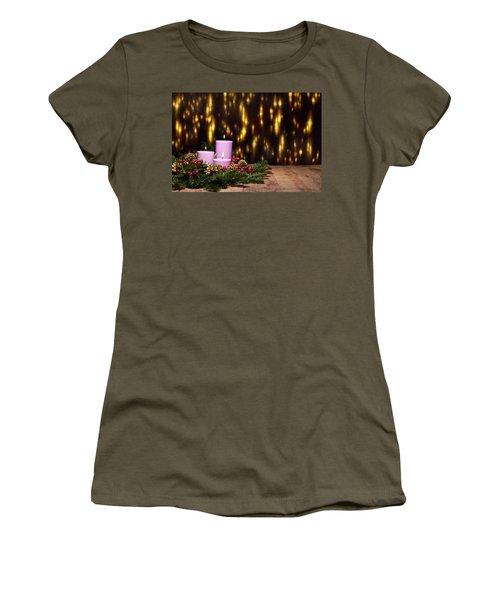 Three Candles In An Advent Flower Arrangement Women's T-Shirt