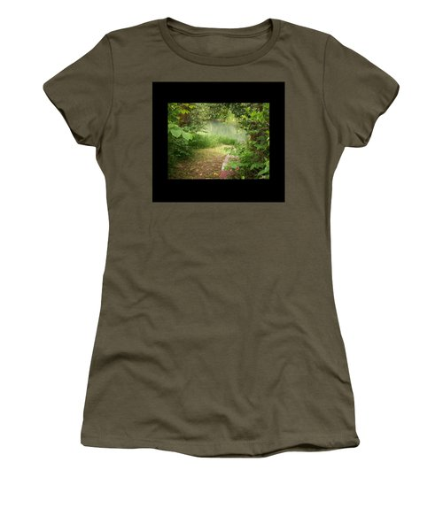Women's T-Shirt (Junior Cut) featuring the photograph Through The Forest At Water's Edge by Absinthe Art By Michelle LeAnn Scott