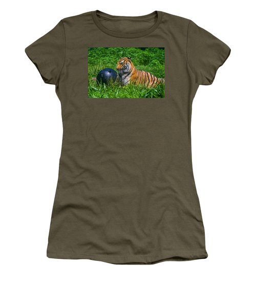 Tiger Playing With Ball Women's T-Shirt (Athletic Fit)