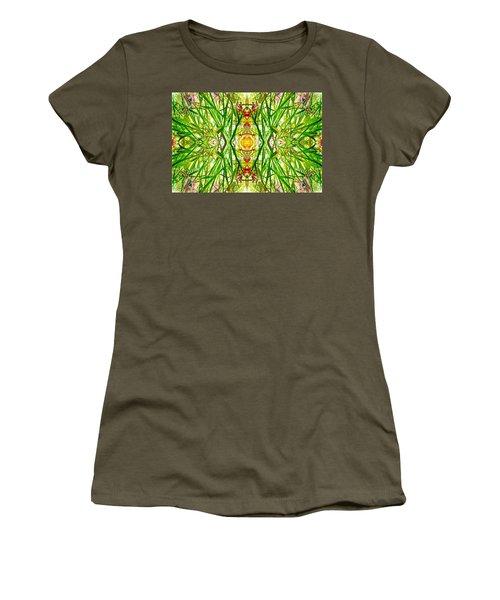 Tiki Idols In The Grass  Women's T-Shirt (Junior Cut) by Marianne Dow