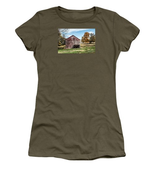 Women's T-Shirt (Junior Cut) featuring the photograph Tobacco Barn Ready For Smoking by Debbie Green