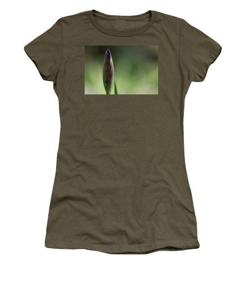 Today A Bud - Purple Iris Women's T-Shirt (Junior Cut) by Debbie Oppermann