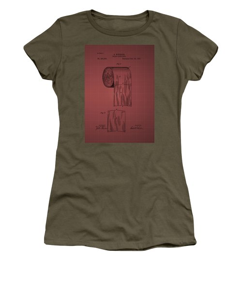 Toilet Paper Roll Patent 1891- Burgundy Women's T-Shirt