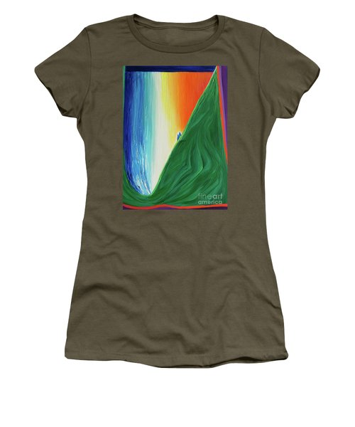 Women's T-Shirt (Junior Cut) featuring the painting Travelers Rainbow Waterfall By Jrr by First Star Art