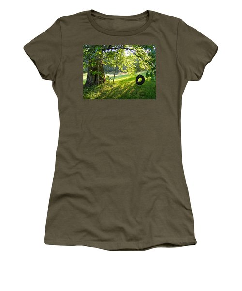 Tree And Tire Swing In Summer Women's T-Shirt (Athletic Fit)