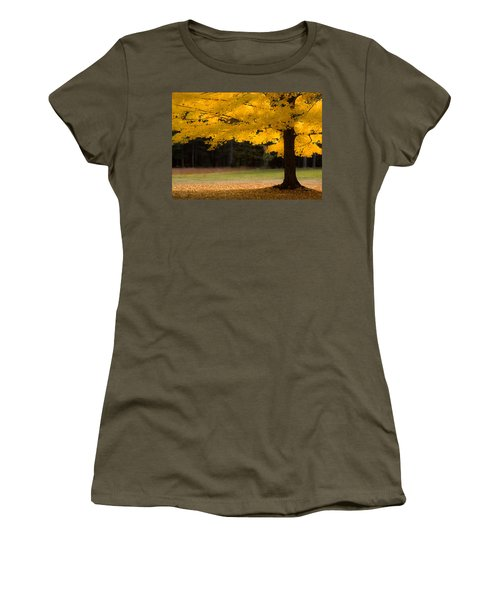 Women's T-Shirt featuring the photograph Tree Canopy Glowing In The Morning Sun by Jeff Folger