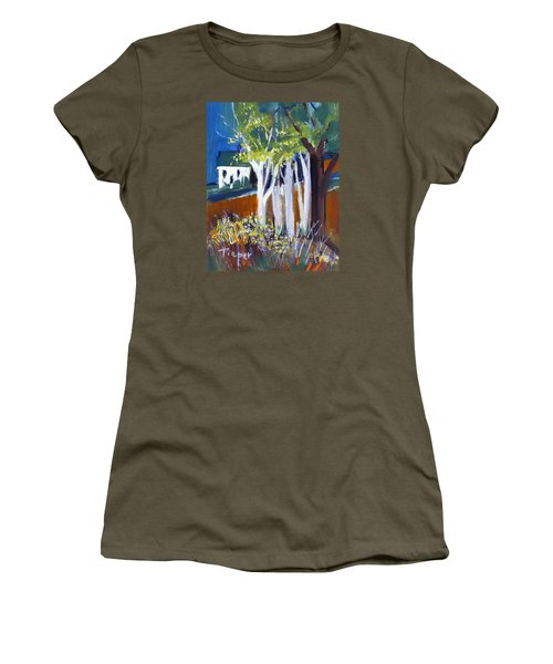 Trees And White Farm House Women's T-Shirt (Athletic Fit)