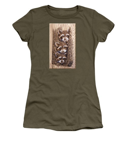 Women's T-Shirt (Junior Cut) featuring the pyrography Tres Amegos by Ron Haist