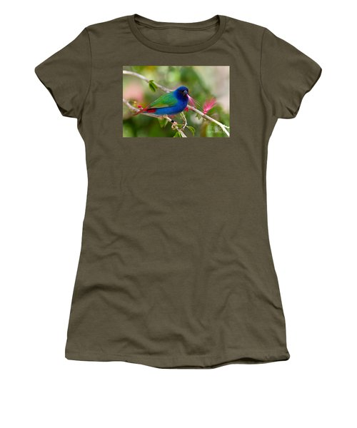 Women's T-Shirt (Junior Cut) featuring the photograph Tricolor Parrot Finch by Les Palenik