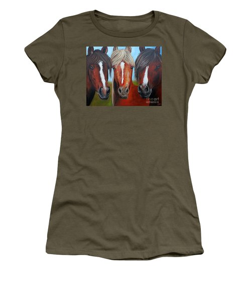 Women's T-Shirt (Junior Cut) featuring the painting Trio by Debbie Hart