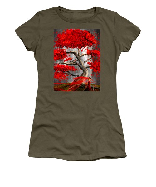 True Love Waits - Red And Gray Art Women's T-Shirt