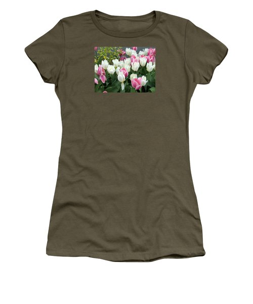 Purple And White Tulips Women's T-Shirt (Junior Cut) by Catherine Gagne