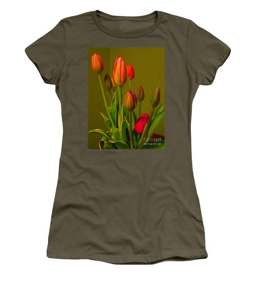 Tulips Against Green Women's T-Shirt (Athletic Fit)