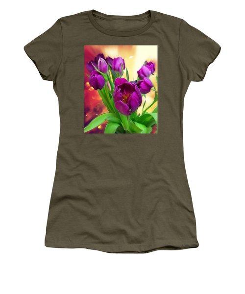 Tulips Women's T-Shirt (Junior Cut) by Carlos Avila