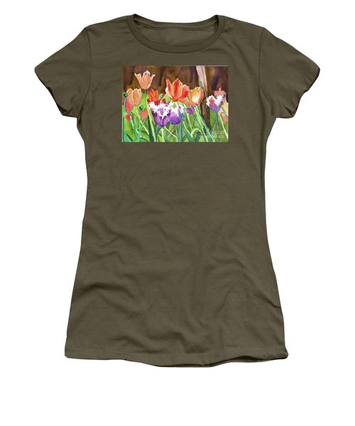 Women's T-Shirt (Junior Cut) featuring the painting Tulips In Spring by Yolanda Koh