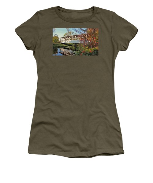 Women's T-Shirt (Junior Cut) featuring the photograph Turner's Covered Bridge by Suzanne Stout