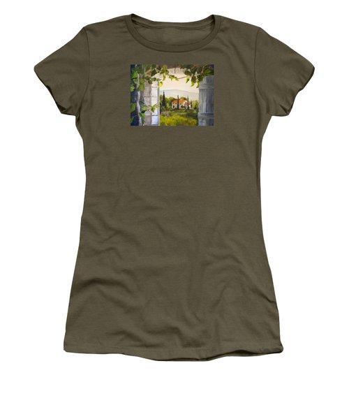 Tuscan View Women's T-Shirt (Junior Cut) by Alan Lakin