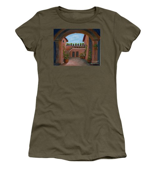 Women's T-Shirt (Junior Cut) featuring the painting Tuscany Arch by Becky Lupe