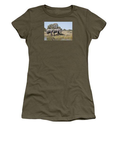 Women's T-Shirt (Junior Cut) featuring the photograph Two Bull African Elephants - Okavango Delta by Liz Leyden