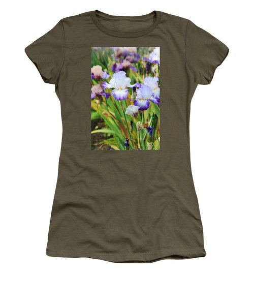 Women's T-Shirt (Junior Cut) featuring the photograph Two Iris by Patricia Babbitt