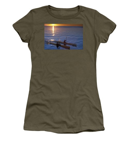 Two Paddlers In Sea Kayaks At Sunrise Women's T-Shirt