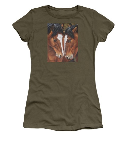 Women's T-Shirt (Junior Cut) featuring the painting Unbridled Affection by Kim Lockman