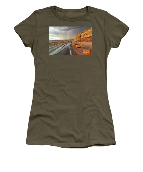 Uncertainty - Lightning Striking During A Storm In The Valley Of Fire State Park In Nevada. Women's T-Shirt