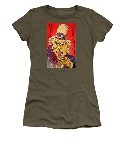 Women's T-Shirt (Junior Cut) featuring the painting Uncle Sam Defy Tyranny by Rand Swift