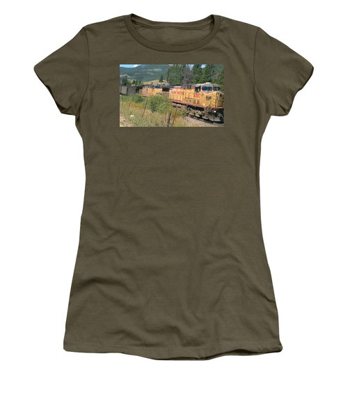 Women's T-Shirt (Junior Cut) featuring the photograph Union Pacific 6587 by Fortunate Findings Shirley Dickerson