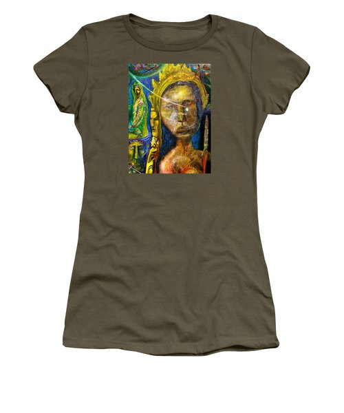Women's T-Shirt (Junior Cut) featuring the painting Universal Totem by Kicking Bear  Productions