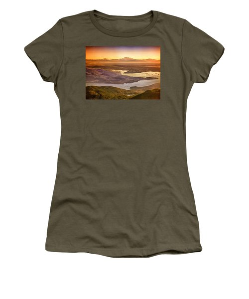 Vancouver And Mt Baker Aerial View Women's T-Shirt (Athletic Fit)