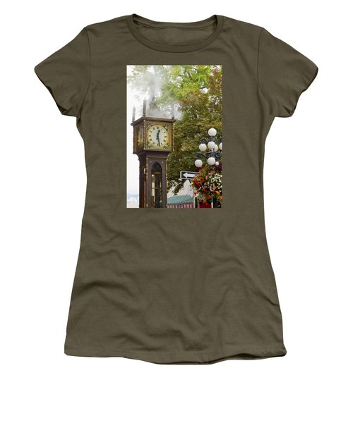 Women's T-Shirt (Junior Cut) featuring the photograph Vancouver Bc Historic Gastown Steam Clock by JPLDesigns