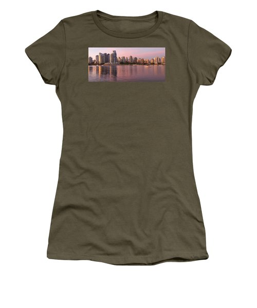 Women's T-Shirt (Junior Cut) featuring the photograph Vancouver Bc Skyline Along False Creek At Dusk by JPLDesigns