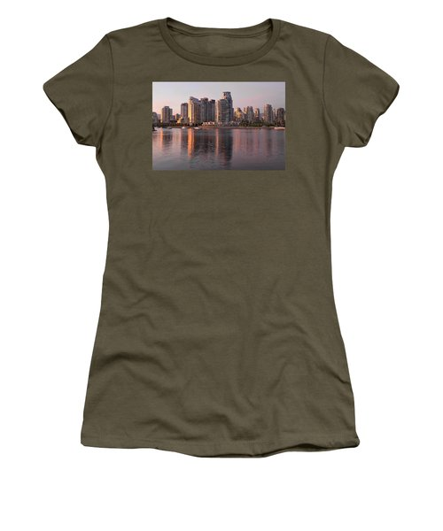 Women's T-Shirt (Junior Cut) featuring the photograph Vancouver Bc Waterfront Condominiums by JPLDesigns