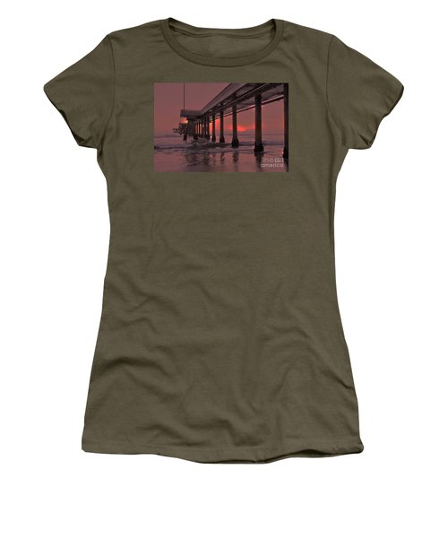 Venice Pier In Red Women's T-Shirt