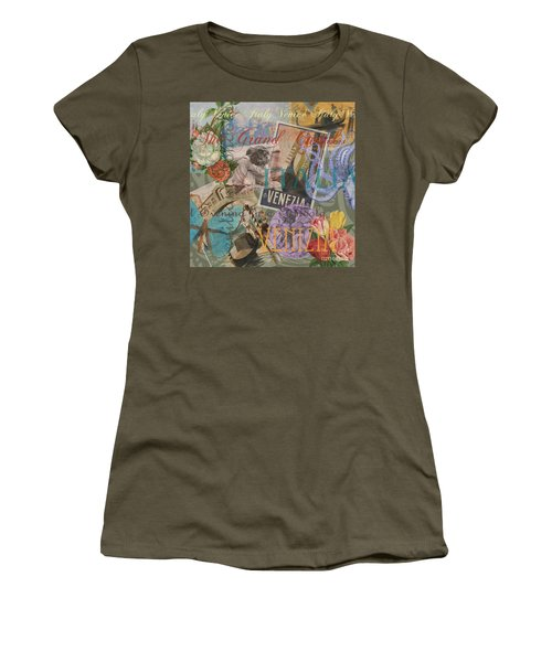 Venice Vintage Trendy Italy Travel Collage  Women's T-Shirt