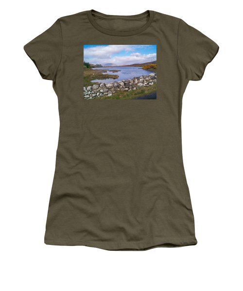 Women's T-Shirt (Athletic Fit) featuring the photograph View From Quiet Man Bridge Oughterard Ireland by Charles Kraus
