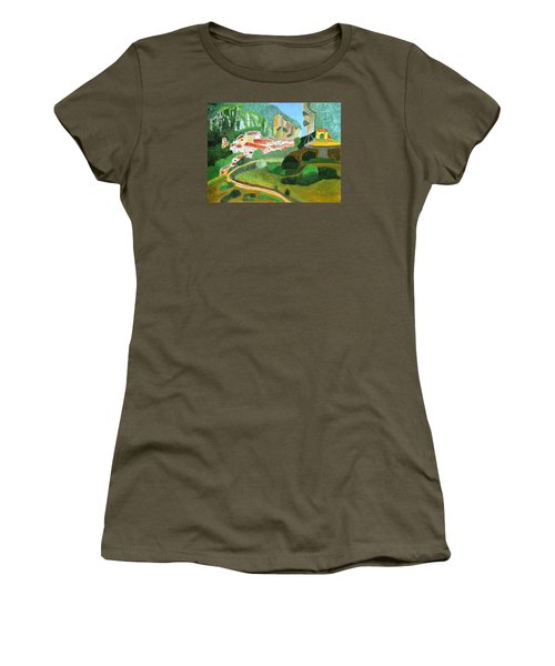 Women's T-Shirt (Junior Cut) featuring the painting Village In The Mountains  by Magdalena Frohnsdorff