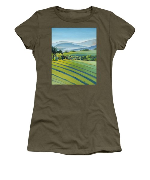 Vineyard Blue Ridge On Buck Mountain Road Virginia Women's T-Shirt (Junior Cut) by Catherine Twomey